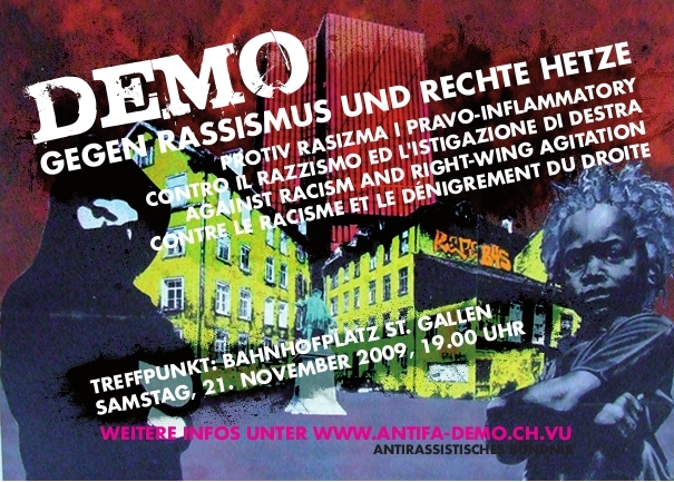 Demo gegen Rassismus und rechte Hetze in St. Gallen am 21.11.2009